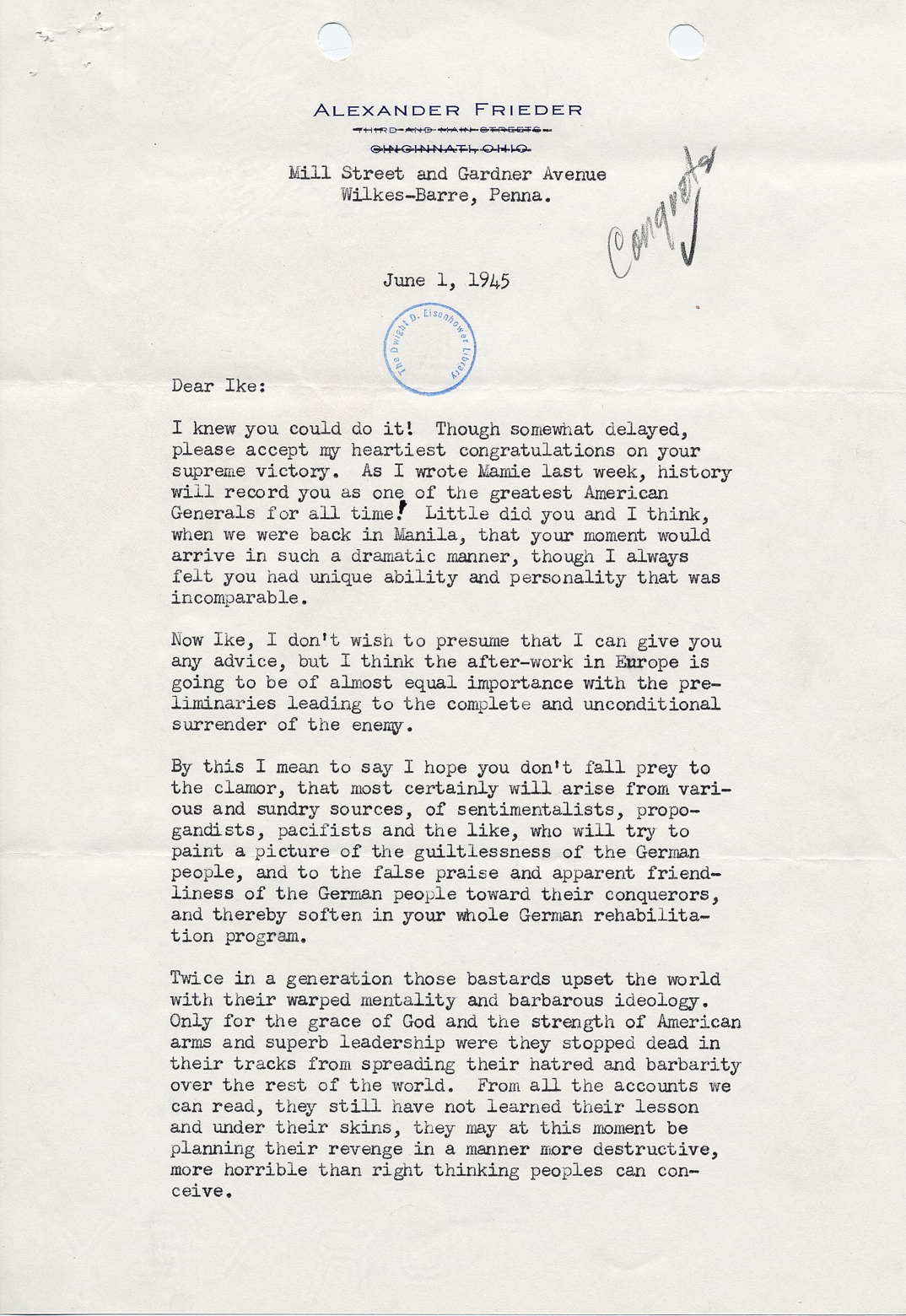 Alex Frieders Powerful Letter Of Congratulations To Eisenhower June 1 1945